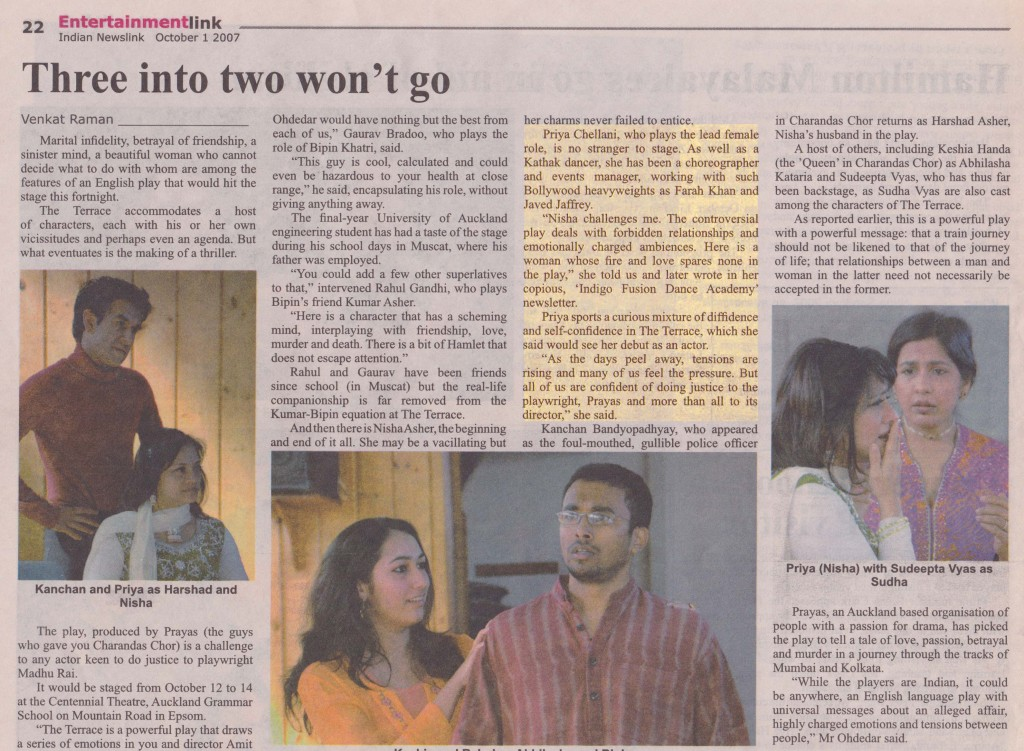 Article in Indian Newslink New Zealand